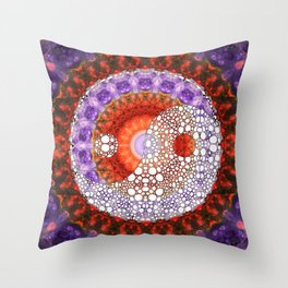 Majestic Yin And Yang - Red And Purple Art - Sharon Cummings Throw Pillow