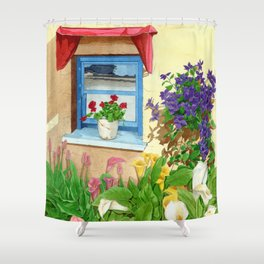 provencal_blue_window Shower Curtain