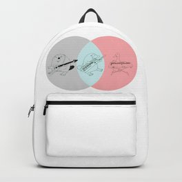 Keytar Platypus Venn Diagram Gray Blue Pink Backpack