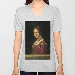 Leonardo da Vinci - Ritratto di donna, dice La Belle Ferronnière Unisex V-Neck