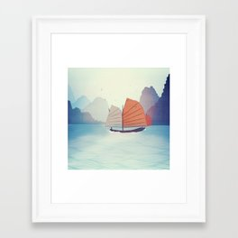 Chinese Boat on the water Framed Art Print