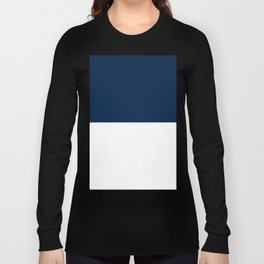 White and Oxford Blue Horizontal Halves Long Sleeve T-shirt