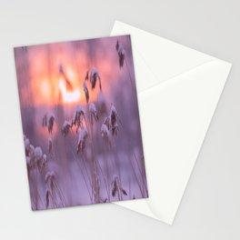 Snowy Reeds Sunset Purple Tone #decor #society6 #buyart Stationery Cards