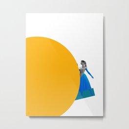 Bardot and the Yellow Circle Metal Print