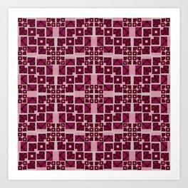 Pink Geometric Futuristic Quilt Art Print