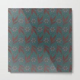 Floral Digital Fabric Metal Print