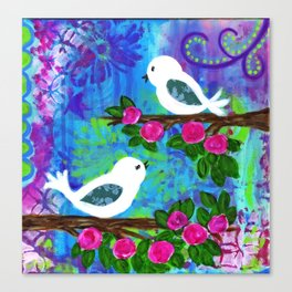 Girl's Room Artwork, Two White Birds with Pink Flowers, Sweet and Whimsical Art Canvas Print