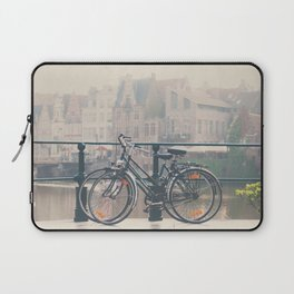 a bicycle date in Ghent Laptop Sleeve