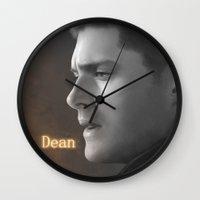 dean winchester Wall Clocks featuring Dean Winchester - Supernatural by Caim Thomas