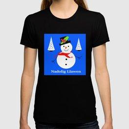 Nadolig Llawen, Merry  Christmas snowman Wales T-shirt
