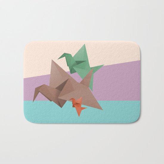 PAPER CRANES (Origami abstract birds animals nature) Bath Mat
