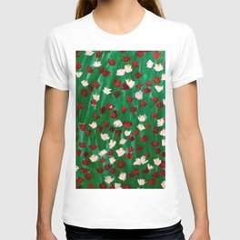 Red and White Flowers on Green Grass T-shirt
