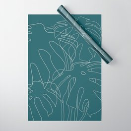 Monstera No2 Teal Wrapping Paper