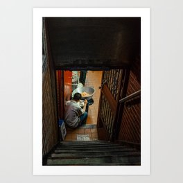 Man Eating Down of the Stairs, B Art Print