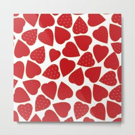 Romantic red white gold floral valentine hearts Metal Print