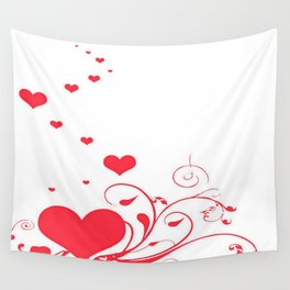 Red Valentine Hearts on A White Background Wall Tapestry