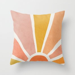 Sun, Mid century modern kids wall art, Nursery room Throw Pillow