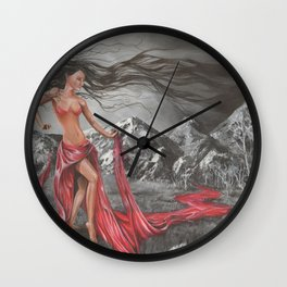 Mother Earth and 4 elements of air, fire, water, land during Creation Wall Clock