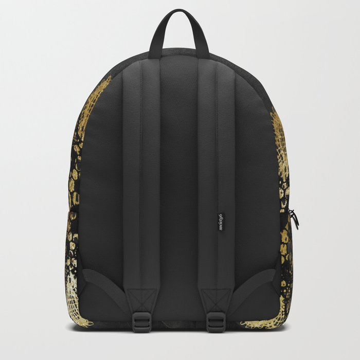 Simply elegance - Gold and black ornamental lace on black paper Backpack