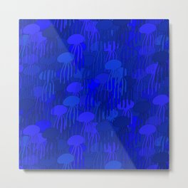 Jellyfish-BLUE Metal Print