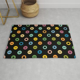 Music Player Icons Polka Dots (Multicolor on Black) Rug