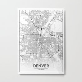 Minimal City Maps - Map Of Denver, Colorado, United States Metal Print