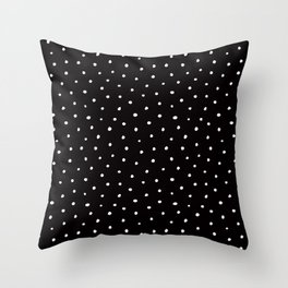 Minimal- Small white polka dots on black - Mix & Match with Simplicty of life Throw Pillow