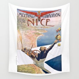 1910 Meeting D'Aviation Nice France Advertising Poster Wall Tapestry