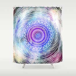 Modern Mandala Spiral Galaxy Space Textured Multi Colored / Purple Pink Orange Gray Black Shower Curtain