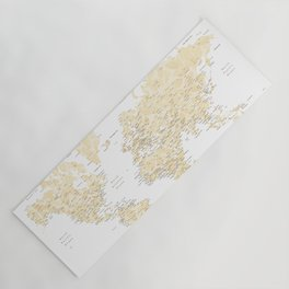 Floral watercolor world map in cream and light brown, Remy Yoga Mat