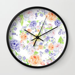 Bouquet of Orange AND Blue rose - wreath Wall Clock