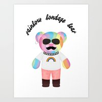 Punk Rainbow Bondage Bear Full 2.0 Art Print