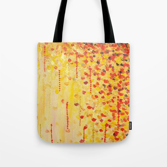WHEN IT FALLS Bold Autumn Winter Leaves Abstract Acrylic Painting Christmas Red Orange Gold Gift Tote Bag