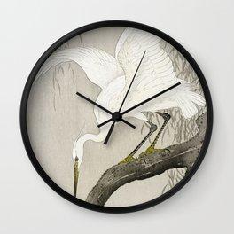 Heron sitting on a tree  - Vintage Japanese Woodblock Print Art Wall Clock