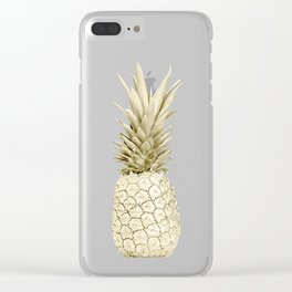 Gold Pineapple on Marble Clear iPhone Case