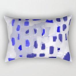 Symba - abstract painting dorm college decor art dots indigo blue grey modern canvas art Rectangular Pillow