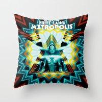 metropolis Throw Pillows featuring METROPOLIS by Tia Hank
