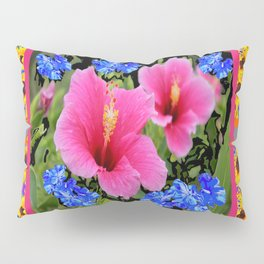 GREY PINK TROPICAL HIBISCUS BLUE-YELLOW FLOWERS Pillow Sham