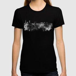 Baton Rouge skyline in black watercolor T-shirt