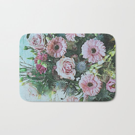 Shabby Pastel Floral Still Life Bath Mat