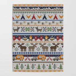 Fair Isle Happy Camper // Winter Wonderland with Woodland Animals Poster