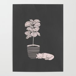 Cat and Plant Poster