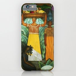 Tehuana Women Bringing Fruit to Market by Diego Rivera iPhone Case
