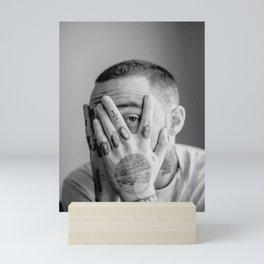 Mac Miller Black And White Portrait Mini Art Print