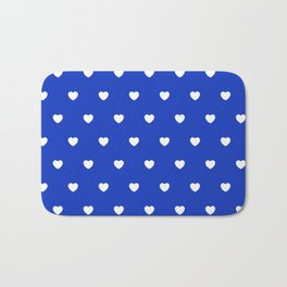 HEARTS ((white on azure)) Bath Mat