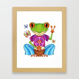 Peace Frog - Colorful Hippie Frog Art by Thaneeya McArdle Framed Art Print