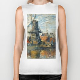 "Claude Monet ""The Windmill, Amsterdam"", 1871 Biker Tank"