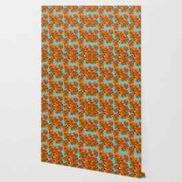 Orange Sunflower Pattern Wallpaper