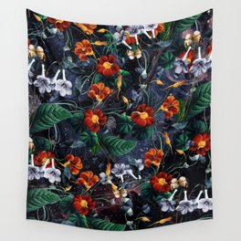 Nasturtium Night Wall Tapestry