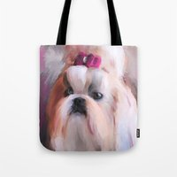 shih tzu Tote Bags featuring Little Girl Shih Tzu by Jai Johnson
